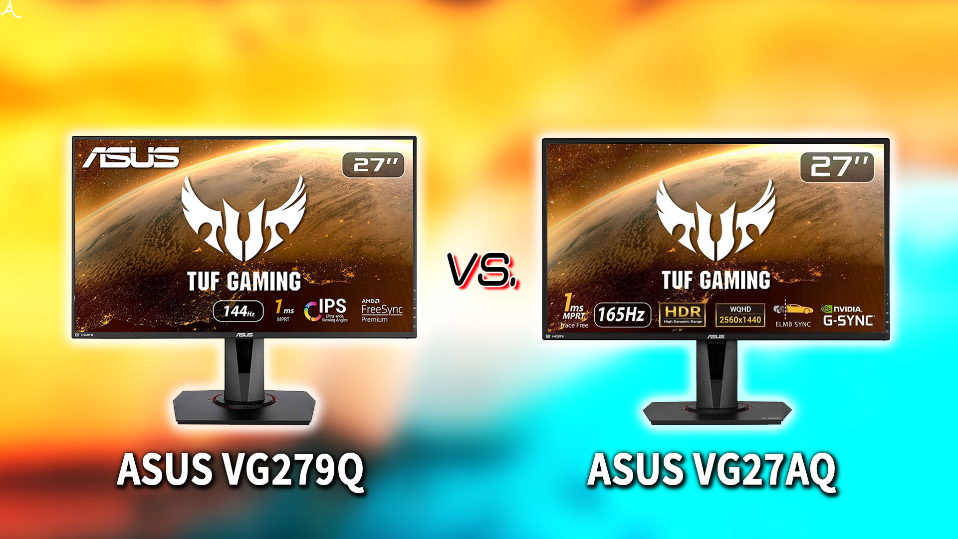「ASUS VG279Q」と「VG27AQ」の違いを比較:どっちを買う?