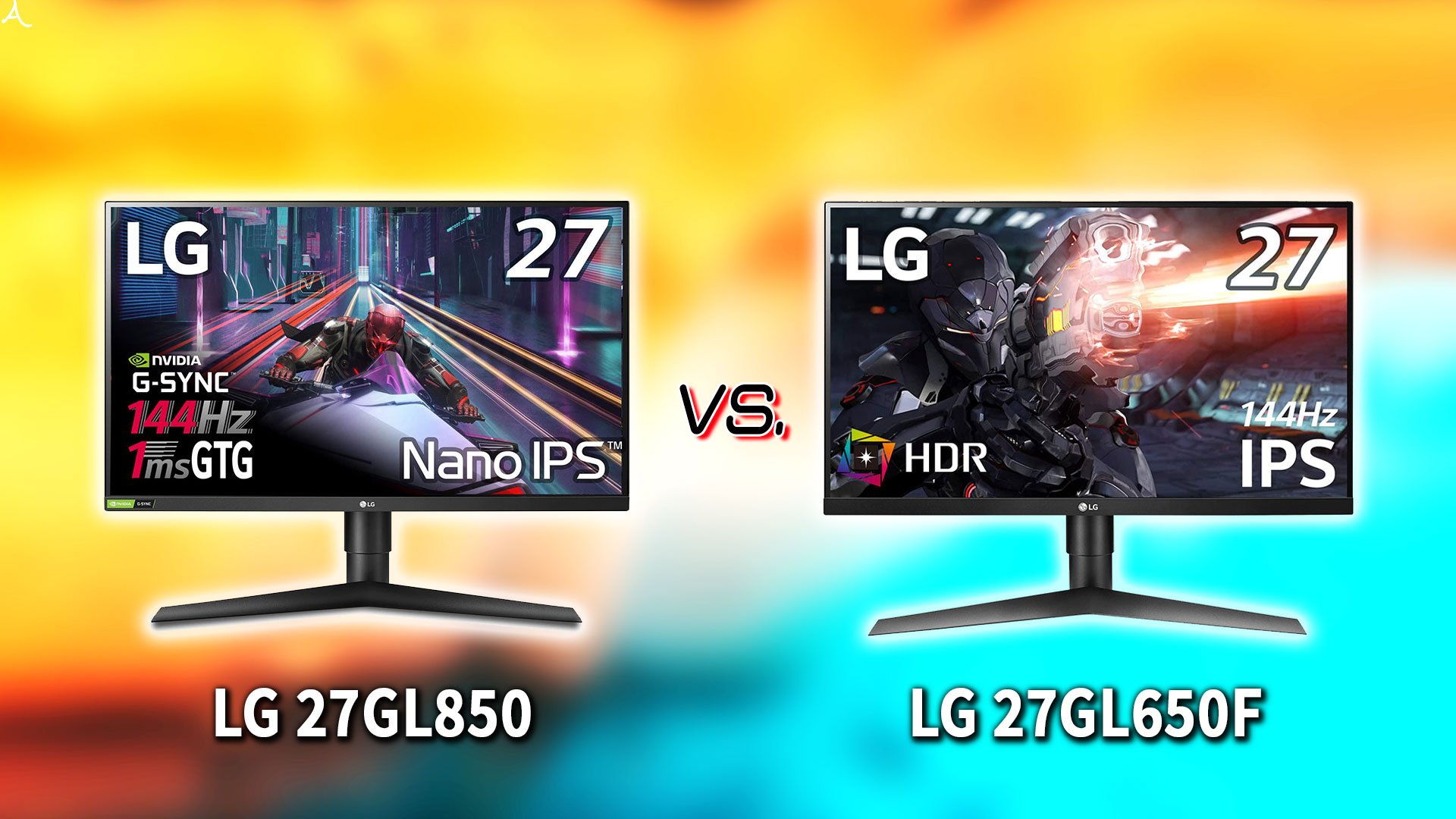 「LG 27GL850」と「27GL650F」の違いを比較:どっちを買う?